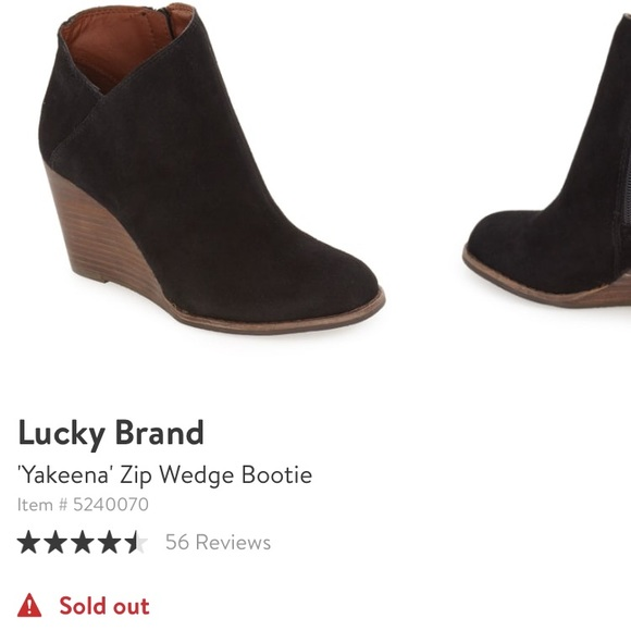 c6a6e2e9a8fb Lucky Brand Shoes - Lucky Brand Yakeena Zip Wedge Bootie Size 8.5Black